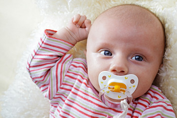 7 week old baby with pacifier