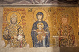 Antique Comnenus Mosaic of Virgin Mary with Jesus Christ
