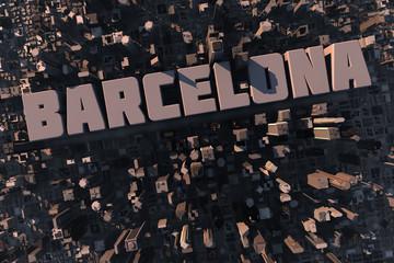 Luftansicht einer Stadt in 3D mit Schriftzug Barcelona