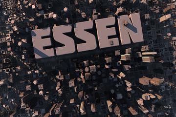 Luftansicht einer Stadt in 3D mit Schriftzug Essen