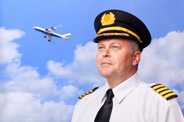 Airline pilot and jumbo jet