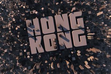 Luftansicht einer Stadt in 3D mit Schriftzug Hong Kong