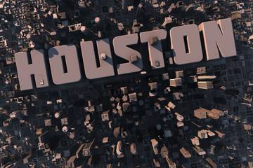 Luftansicht einer Stadt in 3D mit Schriftzug Houston