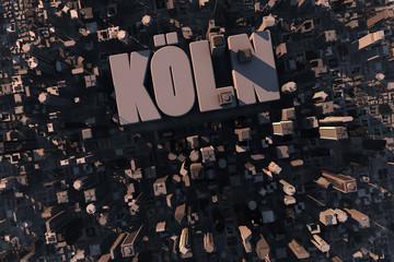 Luftansicht einer Stadt in 3D mit Schriftzug Köln
