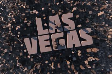 Luftansicht einer Stadt in 3D mit Schriftzug Las Vegas