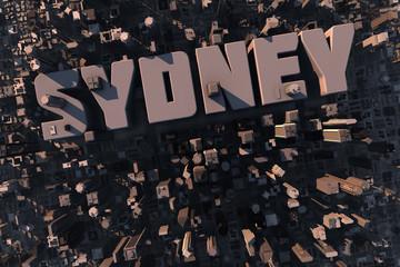 Luftaufnahme einer Stadt in 3D mit Schriftzug Sydney