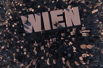 Luftansicht einer Stadt in 3D mit Schriftzug Wien