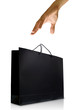 Hand and black glaze paper shopping bag, Isolated