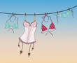 Pantie, bra and lingerie hanging on rope - 34161647