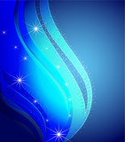 Congestion of stars in the dark blue sky, a set from two banners poster