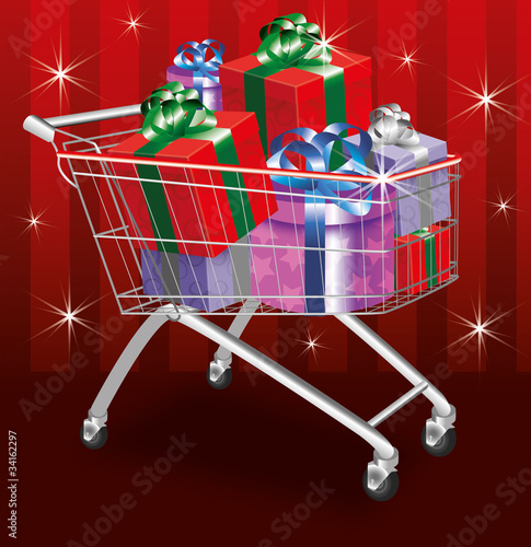 Christmas shopping cart on red background