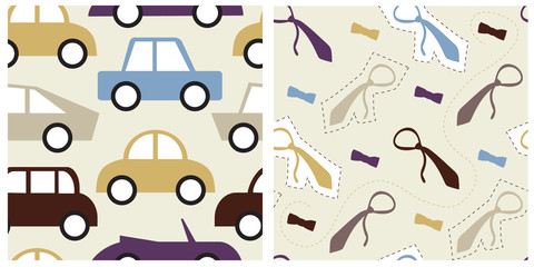 Set of decent seamless patterns with male objects