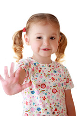 Bambina sorridente che saluta