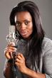 Portrait happy black woman singer in music studio