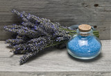 Fresh lavender and bath salts.