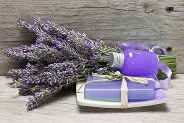 Fresh lavender, gel and soap.
