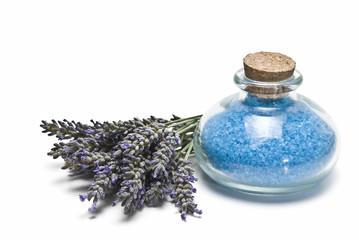 Bath salts and fresh lavender.