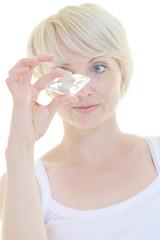 Beautiful blonde woman hold diamond