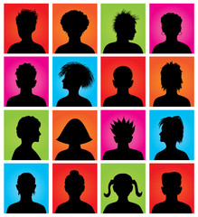 16 anonymous colorful avatars, vector