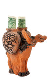 Clay donkey, loaded dollars, isolated with clipping path