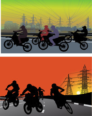 streets and silhouettes of men on motorcycles