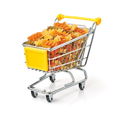 Shopping Cart Filled With Pasta