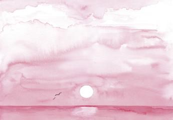 Alba sul mare in rosa. Acquerello tradizionale