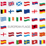 europe flags vector set