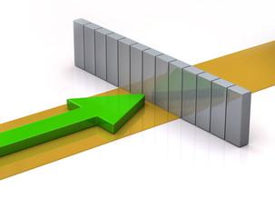 Green arrow and wall