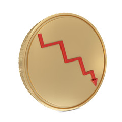 Golden coin with red line