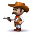 3d Sheriff points his gun at the bad guys