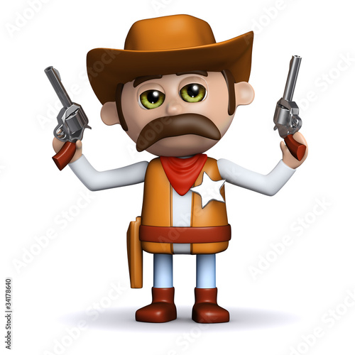 Spoed canvasdoek 2cm dik Wild West 3d Sheriff shoots both guns in the air