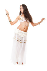 young lovely woman belly dancer