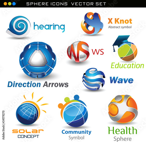 set of vector sphere concepts