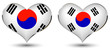 a heart with the flag of korea isolated on a black background