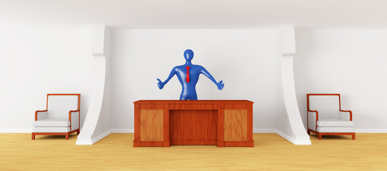 3d person on the reception