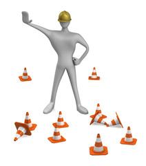 3d construction worker with traffic cones