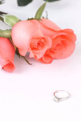 Diamond ring and pink rose