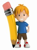 Fototapety 3D Render of Little Boy and Big Pencil