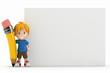 3D Render of Little Boy Blank Board and Big Pencil