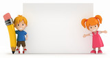 Fototapety 3D Render of Little Boy and Girl with Blank Board