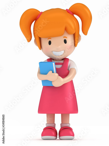 Illustration: 3D Render of Little Girl Holding a Book