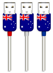set of Australia usb isolated on white background
