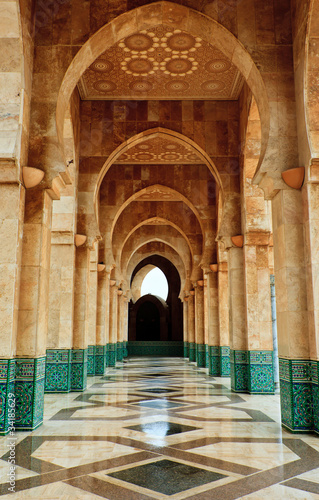 Intricate marble and mosaic archway outside mosque - 34185629