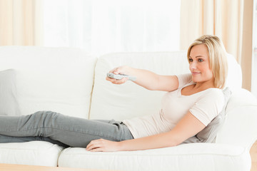 Woman using a remote