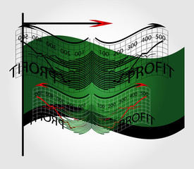 business chart with flag