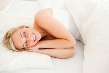 Gorgeous blonde woman sleeping
