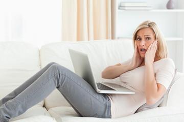 Woman having trouble her laptop