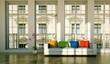 Wohndesign - weisses Sofa mit Regenbogenkissen