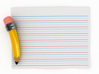3D Render of Pencil and Writing Paper